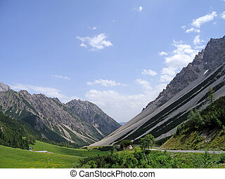 The Hanhtennjoch mountain pass in the Austrian alps with impressing moraines