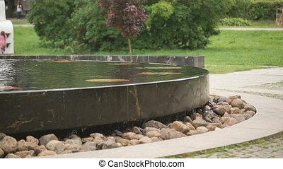 The Hanseatic fountain in Velikiy Novgorod, Russia