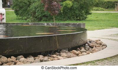The Hanseatic fountain in Velikiy Novgorod, Russia -...