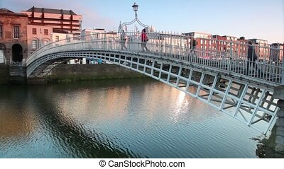 The Ha'penny Bridge , known later for a time as the Penny Ha'penny Bridge, and officially the Liffey Bridge, is a pedestrian bridge built in 1816 over the River Liffey in Dublin, Ireland.