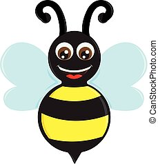 The happy bee vector or color illustration