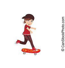 The happy boy on a skateboard