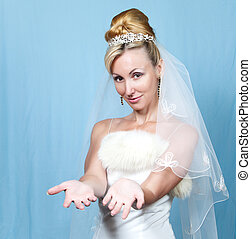 The happy bride on a blue background