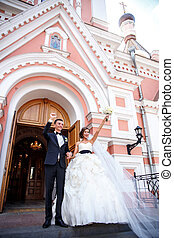 The happy couple of newlyweds