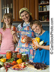 Amicable family on kitchen.