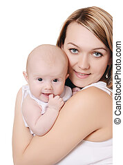 The happy mother with baby isolated on white background