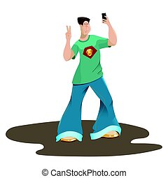 The happy young man left-handed in the cartoon style makes selfie