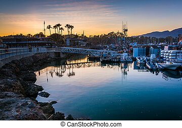 The harbor at sunset, in Santa Barbara, California.