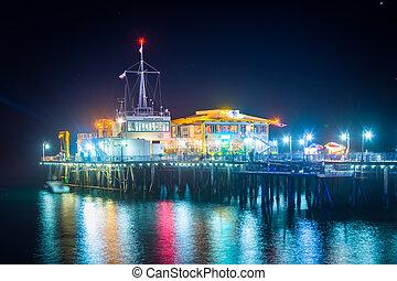 The Harbor Office on the Santa Monica Pier at night, in Santa Monica, California