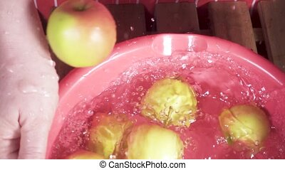 The harvest of apples falls into a basin of water slow motion
