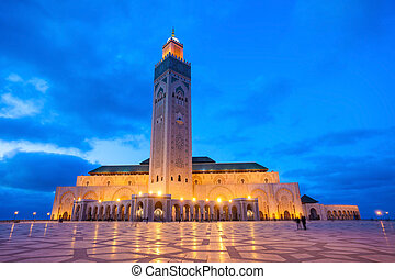 The Hassan II Mosque at the night in Casablanca, Morocco. Hassan II Mosque is the largest mosque in Morocco and one of the most beautiful.