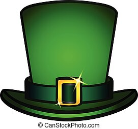 The hat is a black top hat with a strap and a golden buckle. Leprechaun hat. Symbols of St. Patrick's Day, Irish mythology, Celtic holidays. Attributes of the holiday of St. Patrick's Day. Hat isolate
