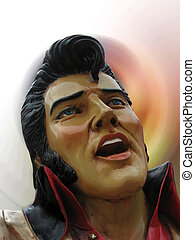 The head, bust, of an Elvis statue, sculpture, figure against a colorful, abstract background.