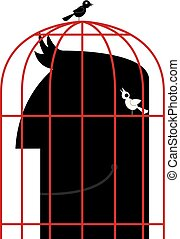 The head is in a birdcage. Two birds are outside the cage.