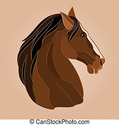 The head of a brown horse