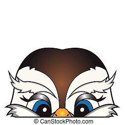 The head of a cartoon bird