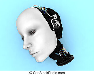 The head of a female robot on the floor.