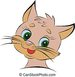The head of a kitten cartoon on a white background.