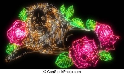 The head of a lion in a flower ornament video - The head of ...