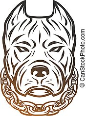 The head of a pit bull with a collar. Line art style.