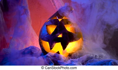 The head of a pumpkin in a sinister and spectacular ...