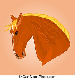 The head of a red horse stallion