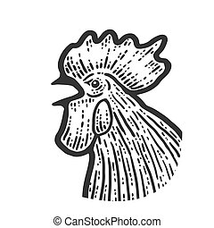 The head of a rooster. Sketch scratch board imitation. Black and white.