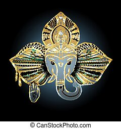 The head of an elephant, the Indian god Ganesh.