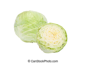 The head of green cabbage is whole and half isolated on a ...