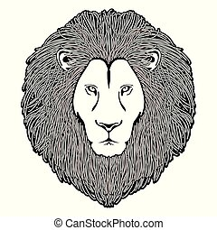 The head of lion black and white logo