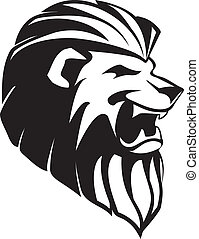 The head of roaring lion - tatoo - The head of black roaring...