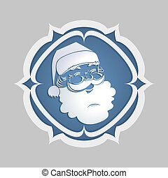The head of Santa Claus is white in a round frame with sharp corners.