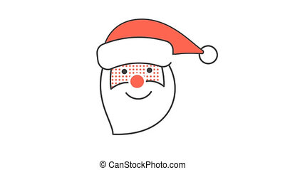 The head of Santa Claus smiles and says ho ho ho. Animated...