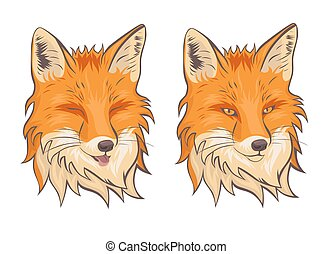 The head of the fox. Isolate on a white background. Vector graphics.