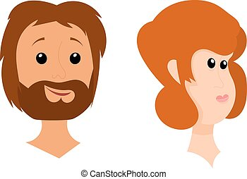 The heads of men and women on a white background. Cartoon style. Stock vector