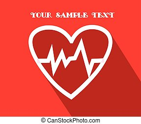 The heart and cardiogram icon. Health Symbol. Vector Flat Illustration with long Shadow