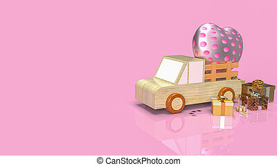 The heart and gift box on wood van truck for valentines day holiday content 3d rendering