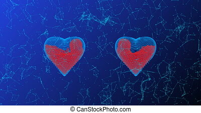 The heart consists of lines and points filled with blood, also consisting of lines and points, the concept of healing, the development of technology in medicine. alpha channel