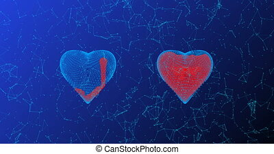 The heart consists of lines and points filled with blood, also consisting of lines and points, the concept of healing, the development of technology in medicine.