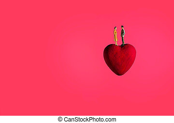 The heart float in space.Imagine for planet of love with pink background.
