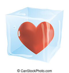 The heart in an ice cube isolated on the white background