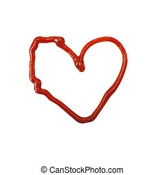 The heart is made of tomato sauce