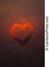 The heart is painted on the misted glass