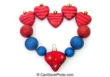 the heart of Christmas toys on a white