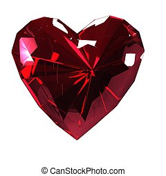 The heart of the red ruby on a white background. Isolate.