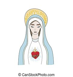 The Heart of Virgin Mary, isolated illustration