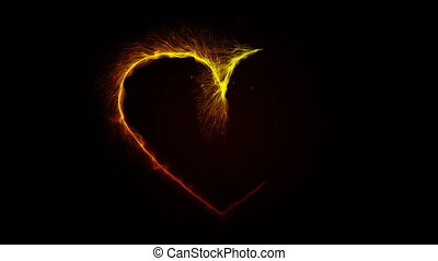 The heart sparkles with the Golden luster of a spiral effect. Shining magic, sparkling particles, trail on a black 4K background. Birthday, Anniversary, New year, Christmas, Valentine's Day, festival.