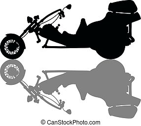 The heavy motor tricycle - The black silhouette of a heavy...