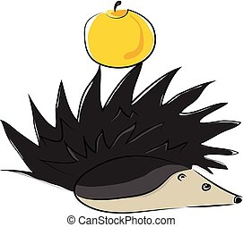 The hedgehog and the yellow apple vector or color illustration