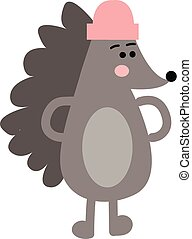 The hedgehog with the pink hat looks cute vector or color illustration